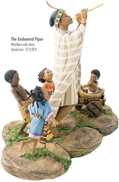 Ebony Visions The Enchanted Piper Complete Set With Base African American Figurines, African American Art, African Art, African Imports, Thomas Blackshear, Black Figurines, Disney Fine Art, Black Art Pictures, Multimedia Artist