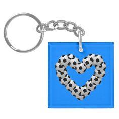 Heart of Soccer FootBall Euro Futbol Keychain - Saint Valentine's Day gift idea couple love girlfriend boyfriend design