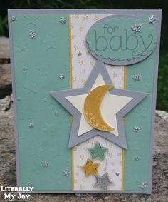 Twinkle Twinkle - Stampin' Up! - Pictograms Punches - BYOP - Something to Say - Perpetual Birthday Calendar - Paper Craft Crew Card Sketches - #PCCCS152 #baby #stars #babyshower #congratulations #mintmacaron #literallymyjoy