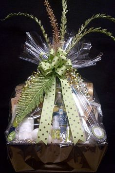 "Custom Spa (This is an example of the way I package my gift baskets....love to add those ""special"" touches)."