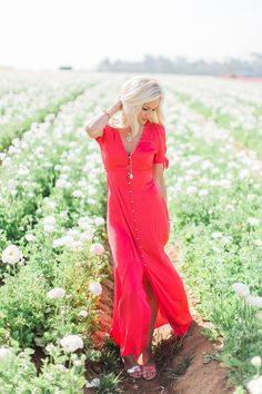 Red Button Up Maxi