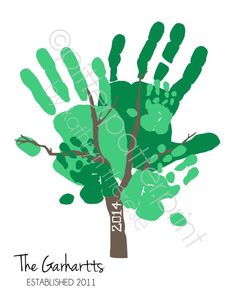 Hand Print Family Tree Art Personalized by PitterPatterPrint