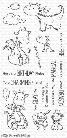 """MFT STAMPS: Magical Dragons (4"""" x 8.5"""" Clear Photopolymer Stamp Set) This package includes Magical Dragons, a 17 piece set including: - Dragon(s) (4) 2 3/8"""" x 1 3/4"""", 1 5/8"""" x 2 1/4"""", 1 1/2"""" x 2 3/8"""","""