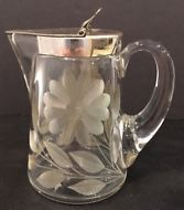 "Vintage Stunning Daisy Cut Crystal Heisey 4-3/8"" Syrup Pitcher w/ Metal Flip Lid"