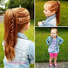 Two Dutch braids on either side, pulled into a high ponytail. Braids for kids. #AverySamara