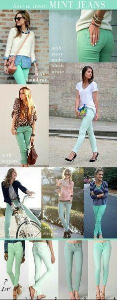 Mint pants outfit ideas