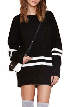 Black Round Neck Long Sleeve Striped Pullover Sweater