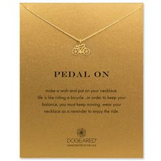 pedal on bike necklace, gold dipped