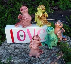 Happy Valentine's Day from the Mystic Reflections Dragon Pals! Polymer Clay Creations, Happy Valentines Day, Dragon, Mystic, Dolls, Christmas Ornaments, Holiday Decor, Clays, Porcelain