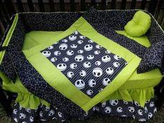 Jack Skellington crib. And I love black and lime green together