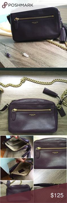 "Legacy Leather Flight Bag Beautiful, smooth dark purple leather crossbody from Coach. Color is:  Black Violet. Top zip closure with exterior zip pocket on front. Adjustable strap made of leather and gold metal chain. Interior slip pocket. Used and in great condition. Slight wear including small scratches. 9""L x 5 3/4""H x 2""W             22"" strap drop.   Creed no.:  F1394-25362 Coach Bags Crossbody Bags"