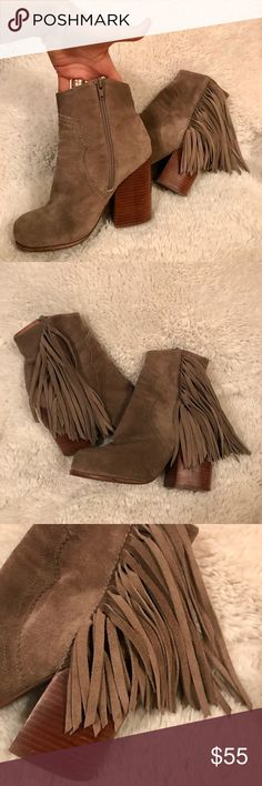 Jeffery Campbell fringe heel bootie I am sadly selling my beautiful handmade Havana Last Jeffry Campbell booties. They are in great condition, little ware as you can see in photos. They have 4 inch heels. I am a mom to a new baby and sadly have absolutely no use for them anymore. They're a size 5 BUT I wear 6 and they fit me pretty well. Please let me know if you have any questions and feel free to place an offer (: Jeffrey Campbell Shoes Heels