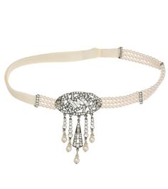1920s Style Pearl and Crystal Hair Band - Thomas Laine