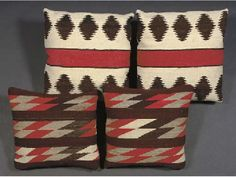 TWO PAIRS OF NAVAJO-WOVEN PILLOWS