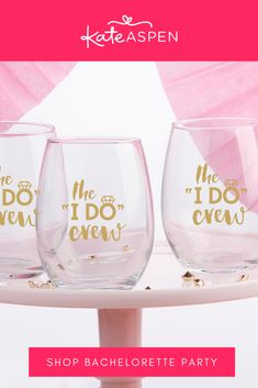 "Pair this stemless wine glass with a mini bottle of wine and surprise your ""I Do Crew"" with this lovely little gesture! 