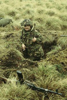 A Welsh Guardsman digs in near Port San Carlos. #FalklandsWar