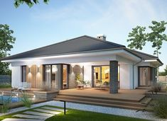 Miriam III - zdjęcie 1 Simple Bungalow House Designs, Bungalow Haus Design, Modern Bungalow House, Bungalow House Plans, Minimal House Design, Modern Small House Design, House Layout Plans, House Layouts, House Outside Design
