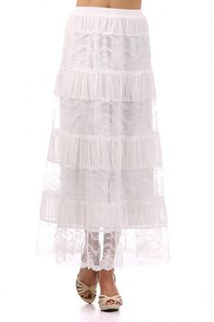 100 percent Polyester 1S/1M/1L/1XL Per Pack White This HIGH QUALITY skirt is BEAUTIFUL!! Made from a super soft and comfortable fabric, this lace striped maxi skirt with elastic waist is fully lined, hand washable, and fits true to size.