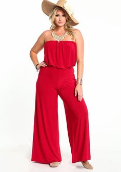 132ac82e8c7 Plus Size Strapless Wideleg Jumpsuit
