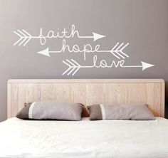 Faith Hope Love - Arrow Vinyl Decal (Interior & Exterior Available) Bedroom Wall Decor, Indie / Boho Decor, Feather and Arrow, Tribal Design