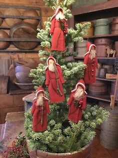 shabby Holiday decor Lot of 5 Vintage wood Santa Christmas ornaments instant collection gift for them tree trimming Primitive folk art