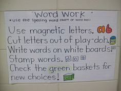 anchor charts for daily five/literacy work stations