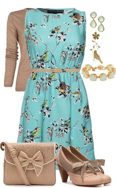 The purse, dress, cardigan and the colors are so cute, though I am not sure about the shoes...