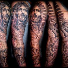 Jesus sleeve tattoo men