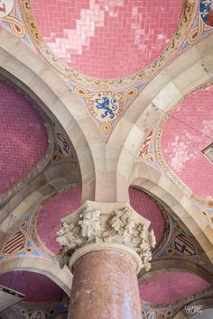 Interior Hospital Sant Pau, Barcelona Catalonia Barcelona Architecture, Gothic Architecture, Amazing Architecture, Perfect Pink, Pretty In Pink, Art Nouveau, Barcelona Catalonia, Ceiling Detail, Windsor Castle