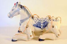 Antique Vintage Ceramic Articulated Horse Marionette Puppet Unique and Rare