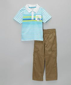 Look what I found on #zulily! Blue Stripe Polo & Khaki Cargo Pants - Infant, Toddler & Boys #zulilyfinds