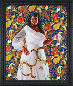 "♥♥♥ In a recent collaboration with Riccardo Tisci of Givenchy, ""Economy of Grace,"" Wiley depicts black women dressed in extravagant haute couture gowns Tisci designed, illustrated against busy and bright backdrops. The women look like the aristocratic white women memorialized in paintings past.   ""Ena Johnson,"" 2012"