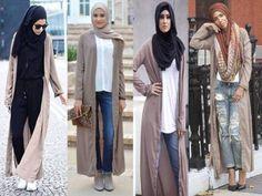 Mocha long cardigans hijab-Muslim women hijab trends http://www.justtrendygirls.com/muslim-women-hijab-trends/