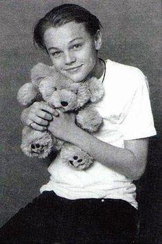 Young Leonardo DiCaprio and his teddy bear