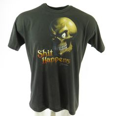 63d9bb22b Vintage 80s Shit Happens T-Shirt Mens XL Outfit 50 50 USA Made Skull Black