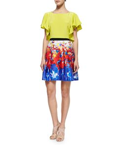 Milly Elodie Sandwashed Cropped Top & Katie Watercolor-Print Short Skirt