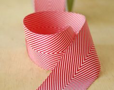 """Red and White Holiday Chevron Ribbon 1.5"""" Twill Tape - 5 Yard Cut"""