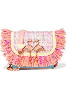 Sophia Webster | Claudie fringed tweed and leather shoulder bag