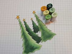 Color the trees with Copic Markers. Lovely shading showing depth of field.