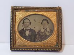 Vintage Antique Tintype Tin Type Photo Photograph Couple Portrait Leather Frame