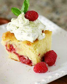 Lemon Raspberry Coffee Cake & Sweet Basil Whipped Cream Recipe - RecipeChart.com