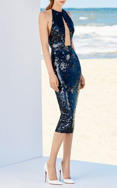 Alexa Sequin Halter Lady Dress by ALEX PERRY for Preorder on Moda Operandi