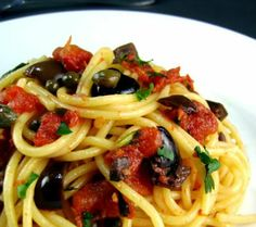 Pasta Puttanesca - Love this recipe.  I do 1/3 cup green and 1/3 cup black olives.