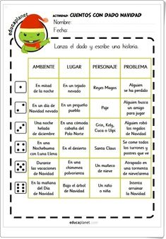 """Cuentos de Navidad con dado"" (Ficha de Lengua Española de Primaria) Spanish Language Learning, Dado, Ideas Para, Activities, School, Children's Literature, Interactive Activities, Writing Tips, Spanish Language"