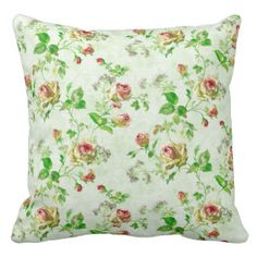 Vintage cottage chic roses trendy floral drawing throw pillow