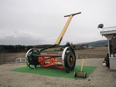 largest push lawn mower - the largest push lawnmower can be found at Deep Creek BC. It is outside the Tool Museum.