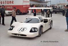 "Phil Hill and Mike Spence drove this ""winged wonder"" Chaparral 2F at Daytona in 1967.  It failed to finish due to accident damage."