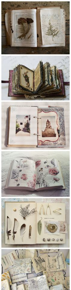 Travel journal pages and scrapbook inspiration - ideas for travel journaling, art journaling, and scrapbooking. Moleskine, Sketchbook Inspiration, Art Sketchbook, Altered Books, Ideias Diy, Scrapbooking, Nature Journal, Handmade Books, Arts And Crafts