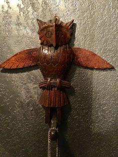 Antique American Folk Art Owl Hat Rack Key by GothicRoseAntiques