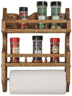 Amish Oak Spice Rack-Double With Paper Towel Holder A delightful addition to the kitchen. Stores spices and paper towels nice and neat and keeps them off the counter. Solid oak wood wears its gorgeous grain pattern. Amish made in America. #spicerack #kitchenaccessories